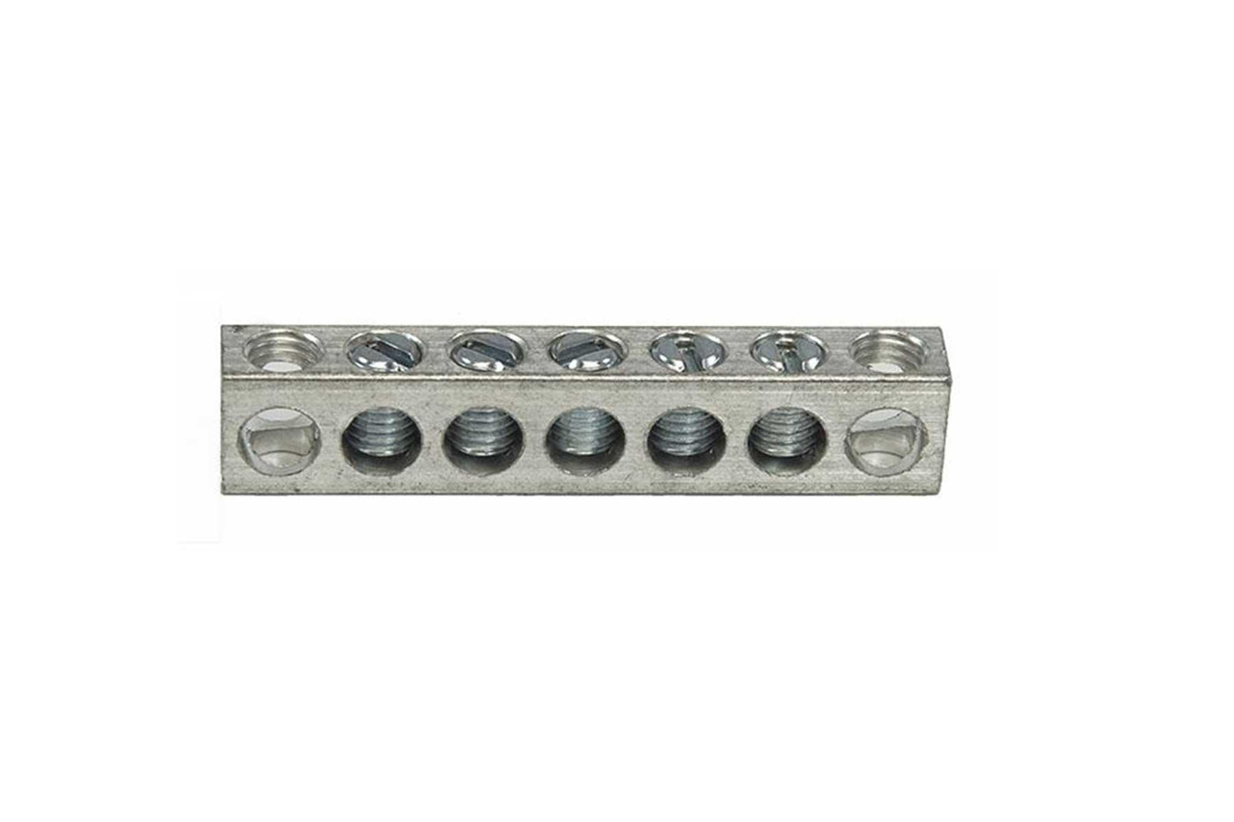 Aluminum Neutral Bar - 4 Taps - 2 Holes