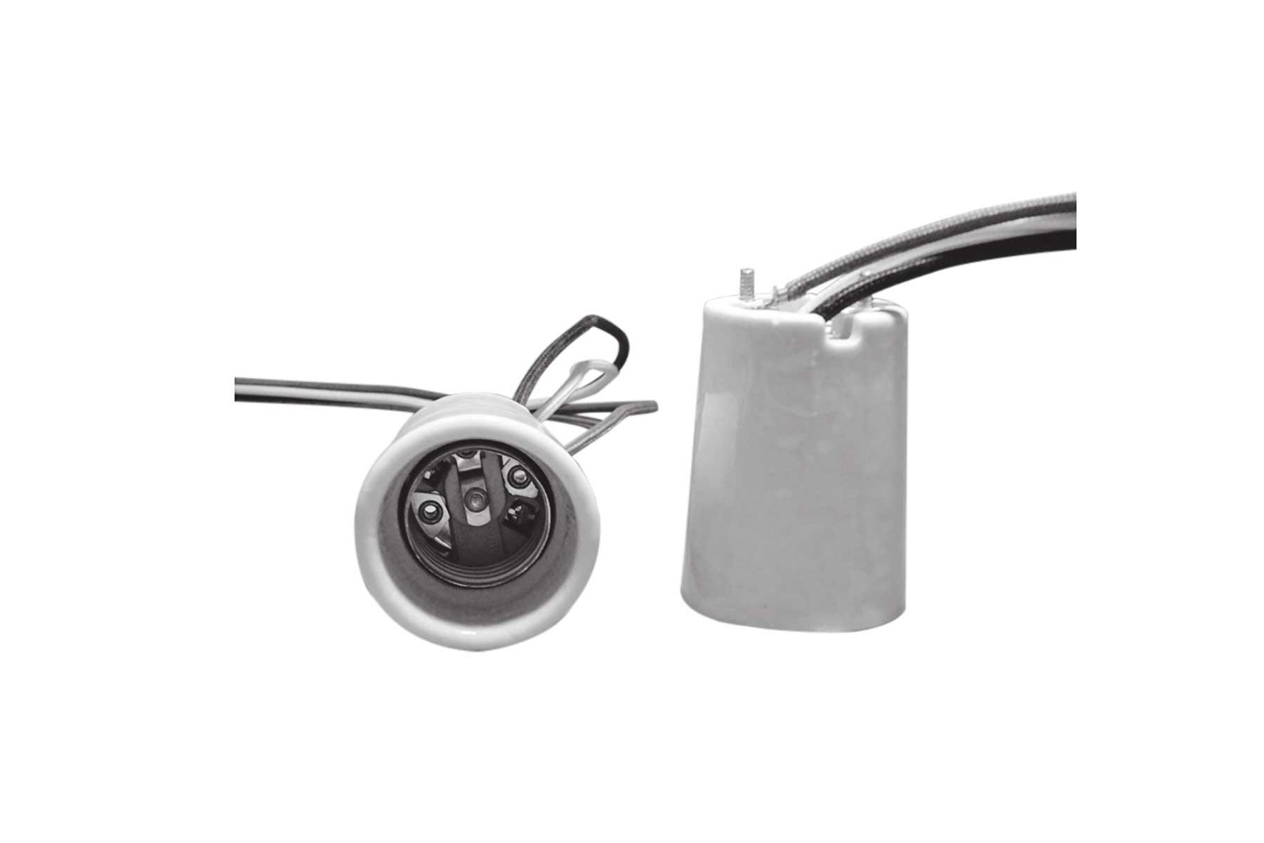4KV Pulse Rated Medium Base Porcelain Incandescent Light Socket with Mounting Screws