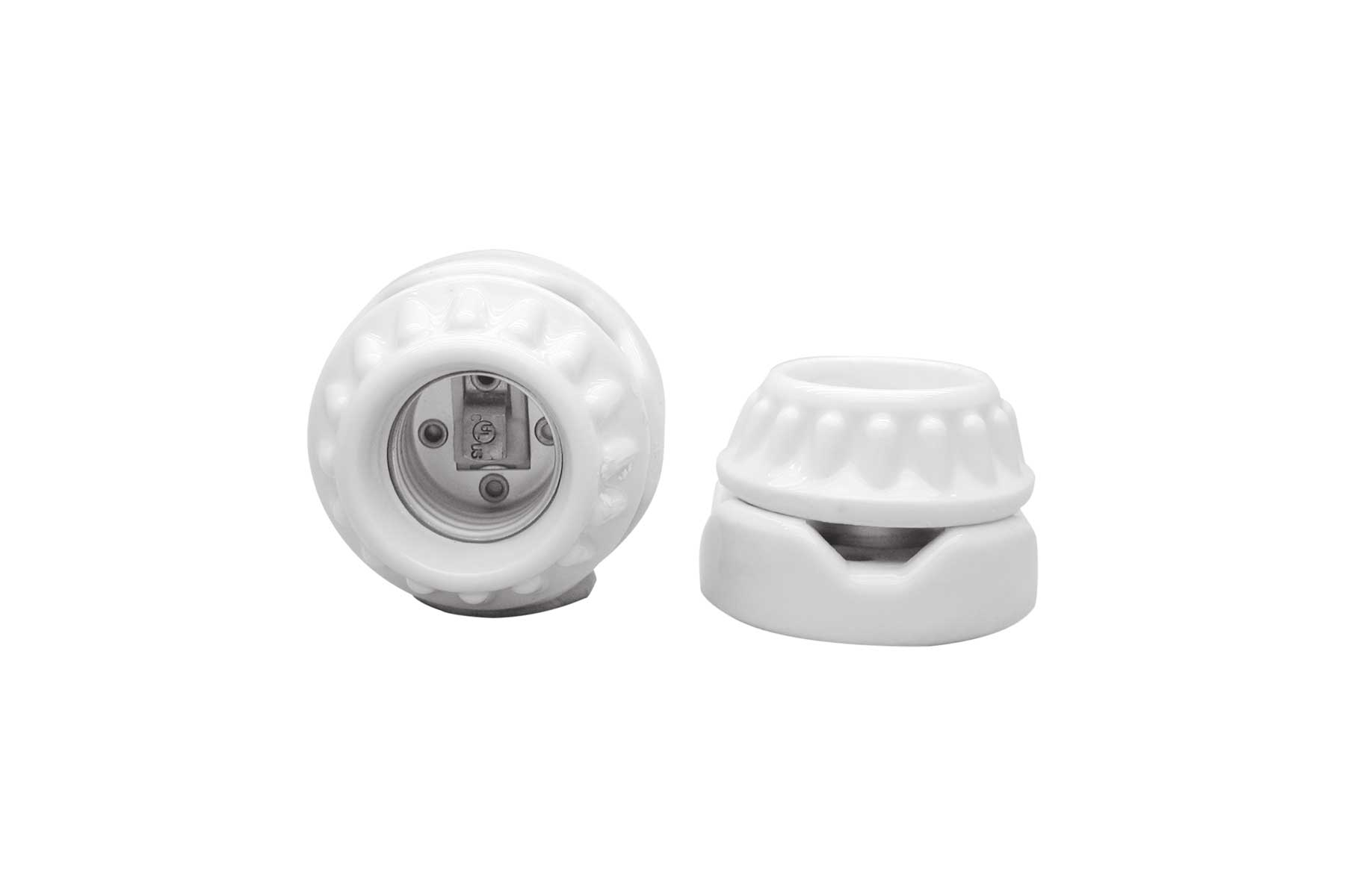 Two Piece Porcelain Keyless Incandescent Light Socket with Two Screw Mounting