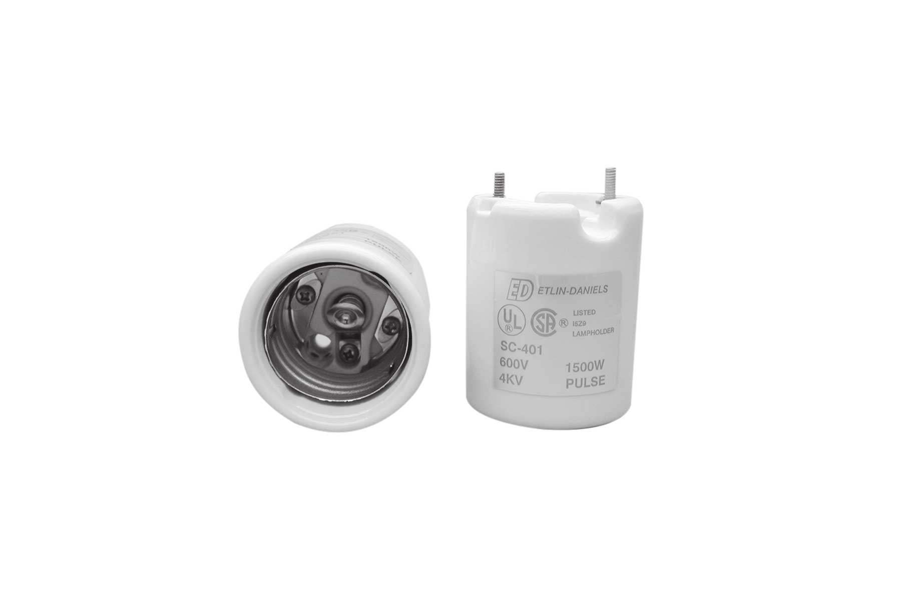 5KV Pulse Rated Mogul Base Porcelain Incandescent Light Socket with Pal Nuts and Wire Ways