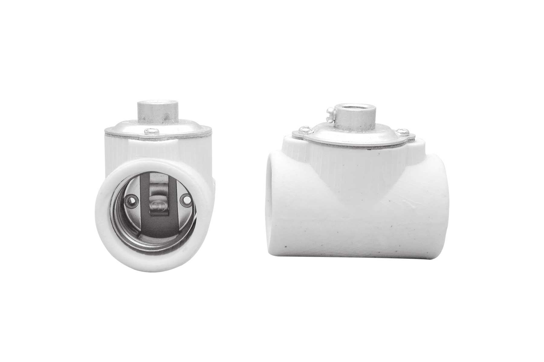 Medium Base Short Body Twin Porcelain Keyless Incandescent Light Socket